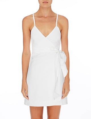 NUDE LUCY - Albion Linen Wrap Dress, White - Makers On Mount