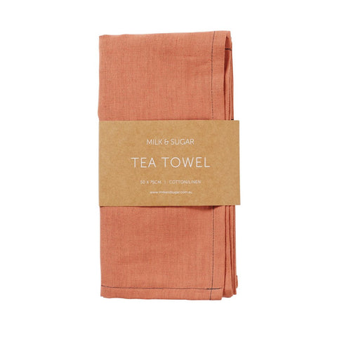MILK & SUGAR - Cotton/Linen Tea Towel, Persimmon