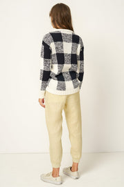 RUE STIIC - Twiggy Sweater, Navy Check - Makers On Mount