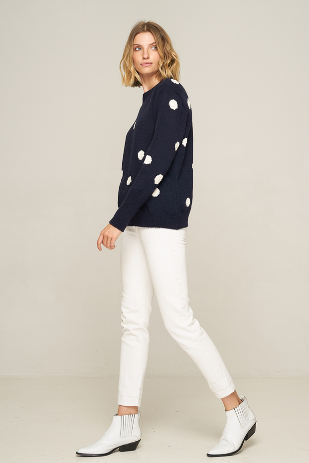 RUE STIIC - Waco Sweater, Navy with White Dot - Makers On Mount