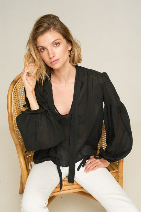RUE STIIC - Bessie High Neck Blouse, Black - Makers On Mount