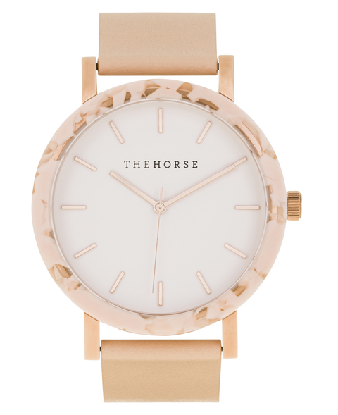 THE HORSE - The Resin Watch, Peach Speckle/White Dial/Vegetable Tan Band - Makers On Mount
