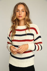 RUE STIIC - Alva Sweater, White Navy & Red - Makers On Mount