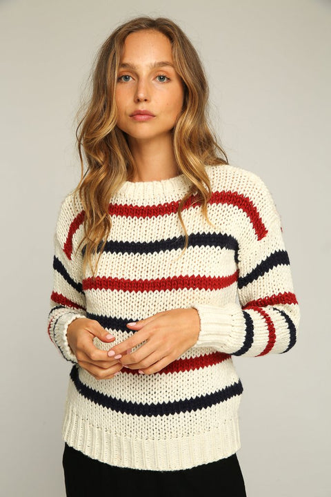 RUE STIIC - Alva Sweater, White Navy & Red