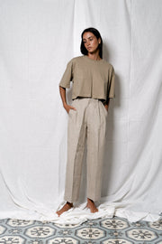 ARTHUR - Pleated Trouser, Oatmeal