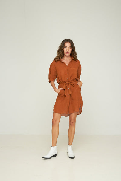 RUE STIIC -  Celia Shirt Dress, Terracotta