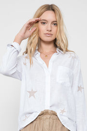 RAILS - Charli, Rose Gold Star Embroidery Shirt - Makers On Mount