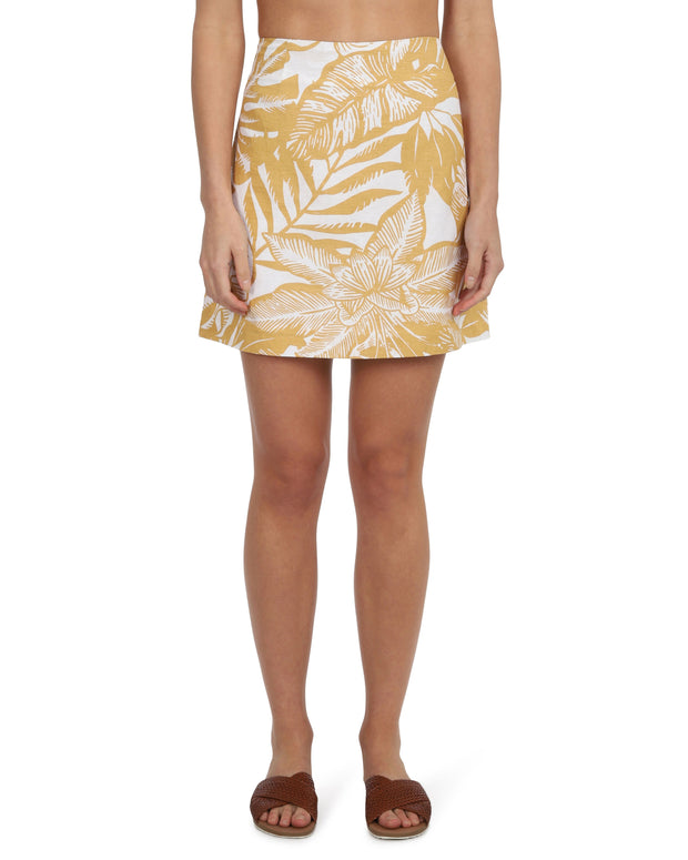NUDE LUCY - Marley Linen Skirt, Mustard Print - Makers On Mount