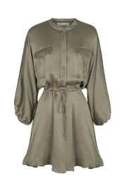 SHONA JOY - Elton Balloon Sleeve Drawstring Mini, Olive - Makers On Mount