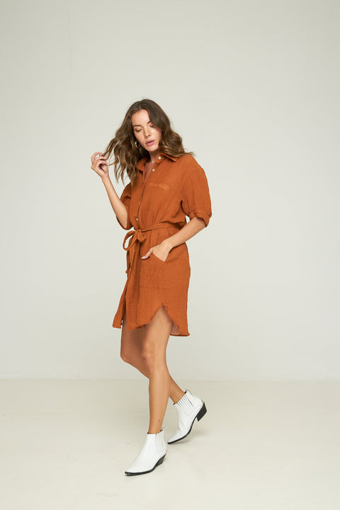 RUE STIIC -  Celia Shirt Dress, Terracotta - Makers On Mount