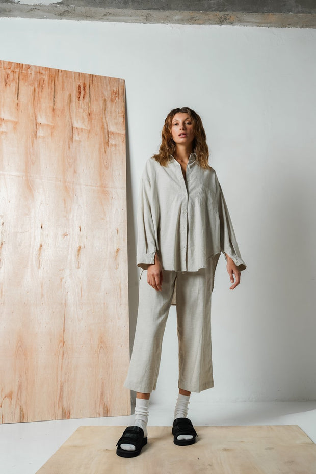 ARTHUR - Oversized Hemp Shirt, Sage
