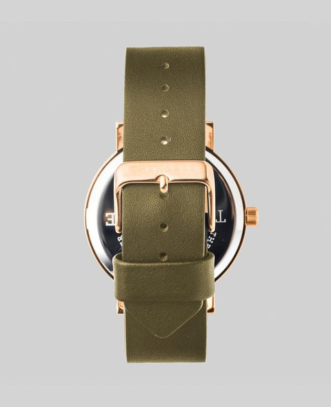 THE HORSE - The Original Watch, Olive/Rose Gold