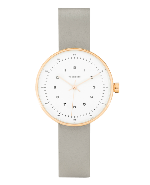 THE HORSE - The Minimal Watch (small), Grey/Rose Gold