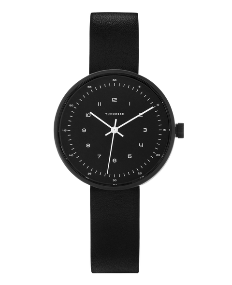 THE HORSE - The Minimal Watch (small), Black/Black - Makers On Mount