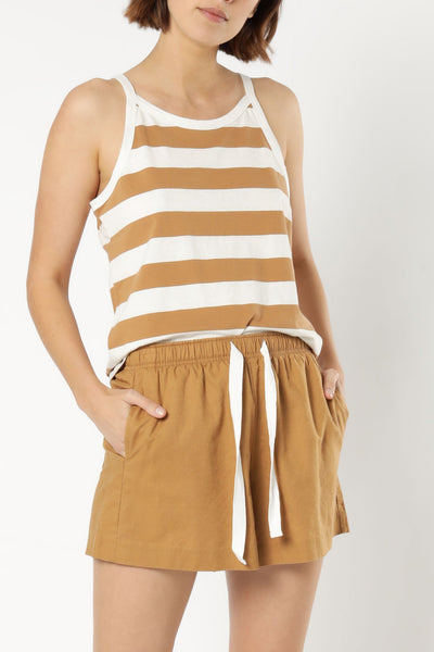NUDE LUCY - Parker Stripe Tank, Tobacco