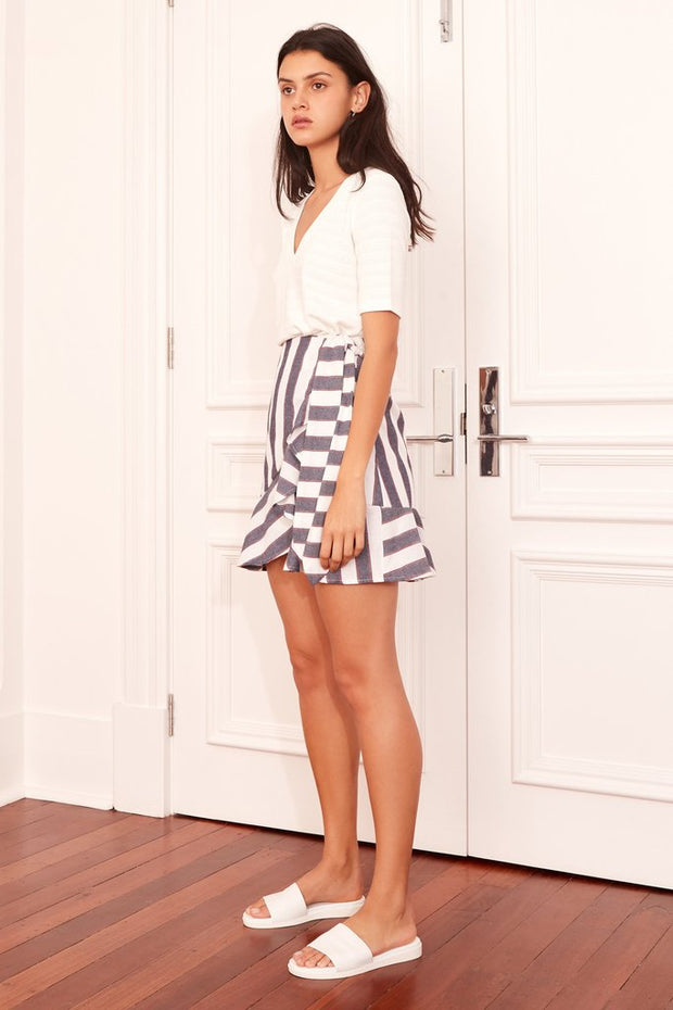 THE FIFTH - Sequence Stripe Skirt, Navy W Ivory