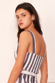 THE FIFTH - Sequence Stripe Top, Navy W Ivory - Makers On Mount
