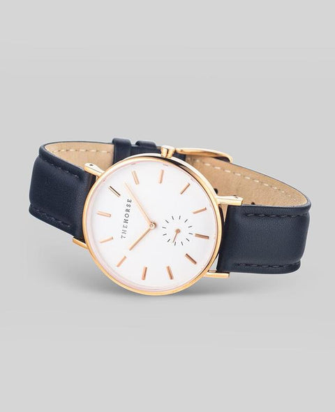 THE HORSE - The Classic Watch, Black/Rose Gold