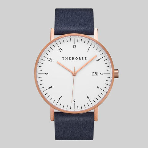 THE HORSE - D Series Watch, Navy/Rose Gold