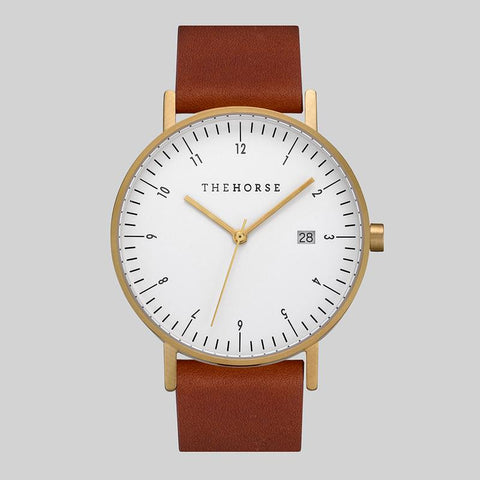 THE HORSE - D Series Watch, Coffee/Gold