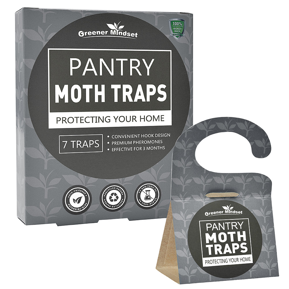 Greener Mindset Pantry Moth Traps 7-Pack with Premium Pheromone Attractant | Most Effective Trap Available | Non-Toxic Safe No Insecticides