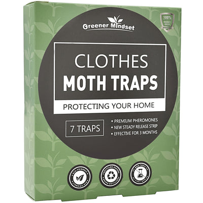 Greener Mindset Clothes Moth Traps 7-Pack with Premium Pheromone Attractant | Most Effective Trap Available | Non-Toxic Safe No Insecticides