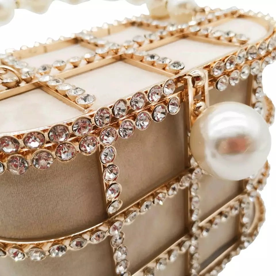 Pearl Top-Handle Women Totes Bag Gold Bucket Bags Metal Clutches Crystal Evening Purses Wedding Bridal Handbags