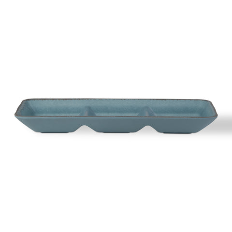 Veranda Aqua Melamine Divided Serving Dish
