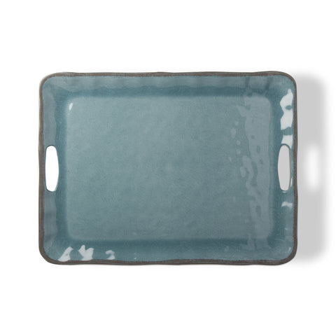 Veranda Aqua Melamine Serving Tray