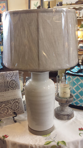 White Lamp with Oatmeal Shade