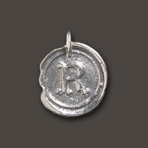 "Round Insignia Charm ""R"" Waxing Poetic"