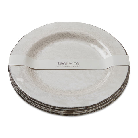 Veranda Ivory Melamine Dinner Plates Set of 4