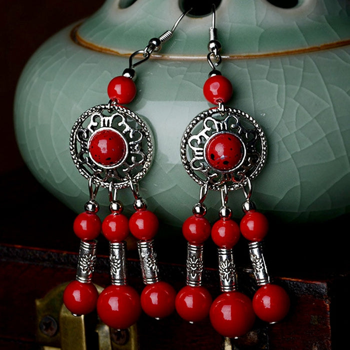 Red Gemstone with Silver Plated Chandelier Earrings