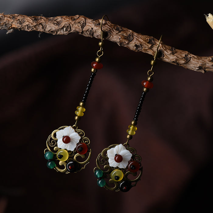 Long Drop Dangle with Beads & Flower