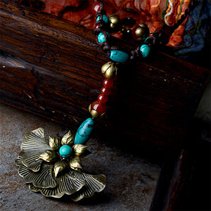 Flower Pendant with Beautiful Necklace