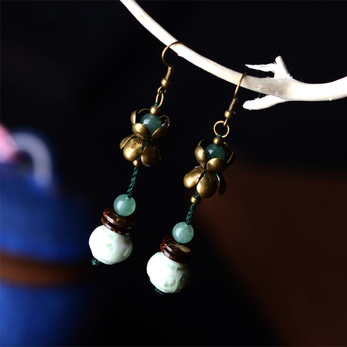 Long Fashion Earrings with White Stone