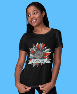 Customise | Women's T-Shirt | USA Flag Sunflower | Add Name