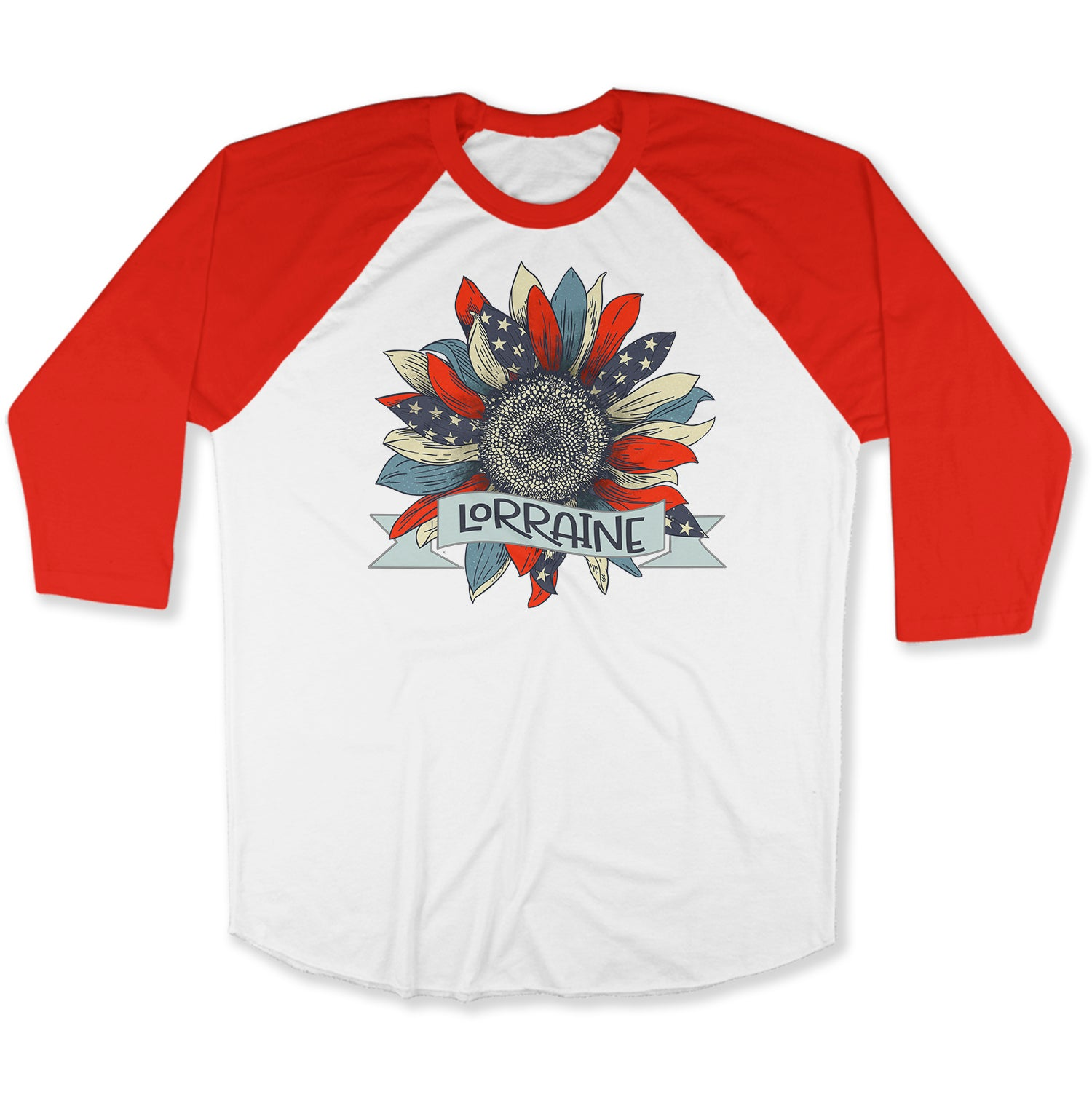 Customise It | Raglan Long Sleeve Shirt | American Flag Sunflower