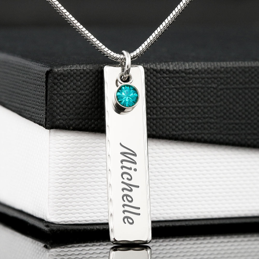 Customisable | Birthstone | Engraved Stick Necklace | Add Name