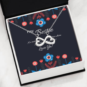 Hey Bestie | Infinity Interlocking Hearts | Best Friend Gift