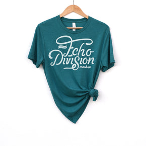 Hanging Shirt Mockup  - Bella + Canvas - Unisex Triblend Short Sleeve Tee - 3413 Teal Triblend - Apparel Photography #1393
