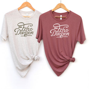 Hanging Shirt Mockup  - Bella + Canvas - Unisex Triblend Short Sleeve Tee - Couple Shirt 3413 Triblend  Mauve - Oatmeal  #1405