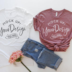 Couple Shirt Mockup  - Bella Canvas 3001 Shirt - White  - Mauve -  Outfit Flat lay - Apparel Photograph #298