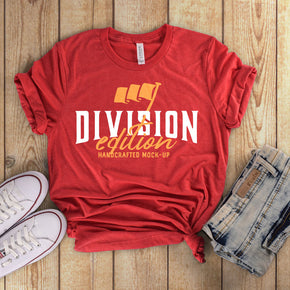 Shirt Mockup  - Bella Canvas 3001 T-Shirt -  Heather  Red  - Outfit Flat lay - Apparel Photography #0598