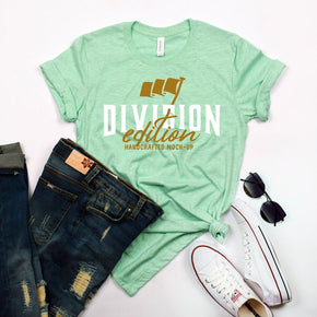 Shirt Mockup  - Bella Canvas 3001 T-Shirt -  prism Mint  - Outfit Flat lay - Apparel Photography #0625