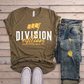 Shirt Mockup  - Bella Canvas 3001 T-Shirt -   Heather Olive  - Outfit Flat lay - Apparel Photography #0571