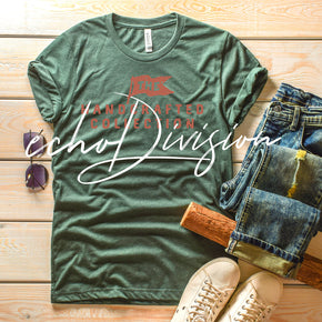 Shirt Mockup  - Bella Canvas 3001 T-Shirt -  Heather  Forest  - Outfit Flat lay - Apparel Photography #0593
