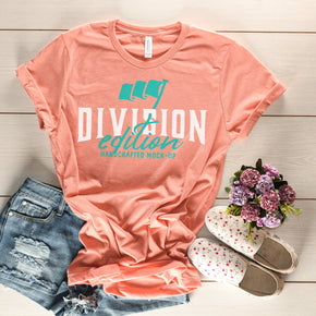 Shirt Mockup  - Bella Canvas 3001 Shirt Heather Sunset - Outfit Flat lay - Apparel Photography #0785