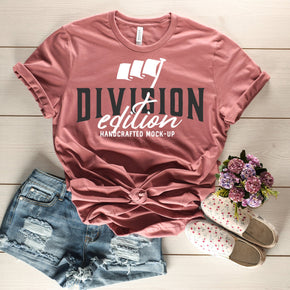 Shirt Mockup  - Bella Canvas 3001 Shirt - Heather Mauve - Outfit Flat lay - Apparel Photography #0683