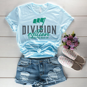 Shirt Mockup  - Bella Canvas 3001 Shirt - Heather Ice Blue - Outfit Flat lay - Apparel Photography #0675